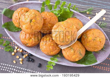 Savory muffins with corn, pepper and leek on a plate.