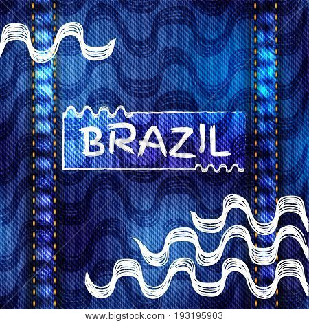 Ipanema beach with denim texture pattern. Vector illustration. Brasil style pattern. Jeans background.