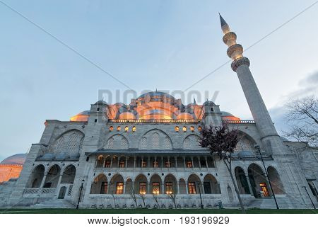 Exterior low angle shot of Suleymaniye Mosque before dusk. An Ottoman imperial mosque located on the Third Hill of Istanbul Turkey and the second largest mosque in the city. built in 1557