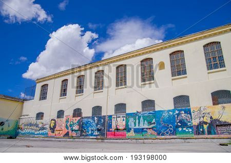 QUITO, ECUADOR - NOVEMBER 23, 2016: Art at backyard walls inside of the old prison Penal Garcia Moreno in the city of Quito.