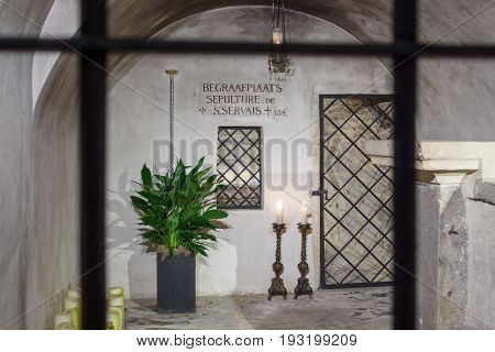 MAASTRICHT NETHERLANDS - JANUARY 16 2016: The tomb of St. Servatius in Basilica of St. Servatius. The Basilica of St. Servatius is a oldest Roman catholic church the Netherlands.