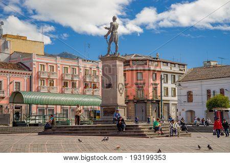 QUITO, ECUADOR - NOVEMBER 23, 2016: Unidentified people walking in historic Plaza de Santo Domingo in old town Quito Ecuador South America.