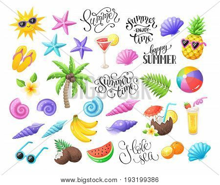 Tropical summer objects isolated on white background. Summer time wording with colorful beach objects. Fresh tropical fruits and cocktails icons. Seashells and starfishes symbols.