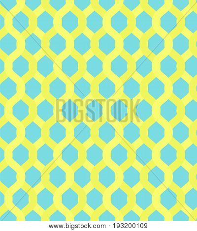 Yellow grid chain on blue background pattern. Bright colorful net texture for textile backgrounds wallpapers wrapping paper covers banners