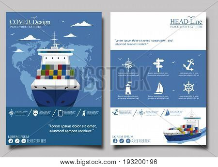 Sea shipping poster template set. Maritime container transportation, commercial transportation logistics. Worldwide freight shipping business company, global delivery service vector illustration