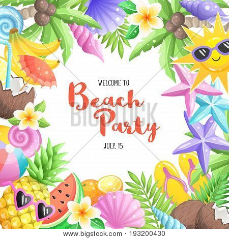 Tropical summer objects in circle composition isolated on white background. Beach party wording with colorful summer time icons. Fresh tropical fruits and cocktails icons. Seashells and starfishes.