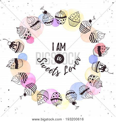 Im a sweets lover. Cool concept for t-shirt print. Coffee love greeting card design. Hand drawn line art illustration with teapots, cups and sweets in circle frame.