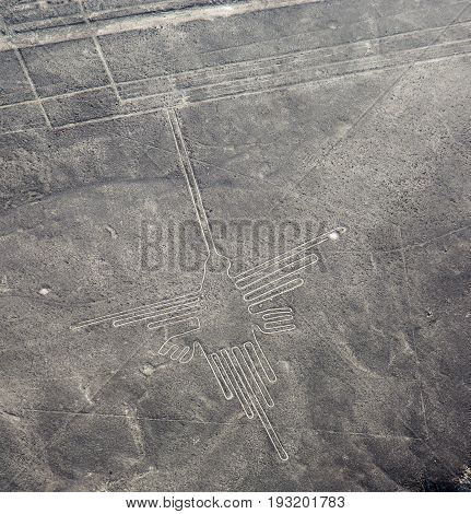 Aerial view of famous nazca lines in Chile