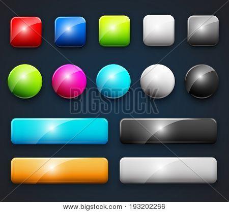 Set of design elements, blank dark-blue background colored web buttons for website or app. Vector illustration.