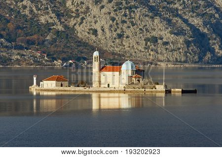 Island of Our Lady of The Rocks (Gospa od Skrpjela). Bay of Kotor Montenegro winter