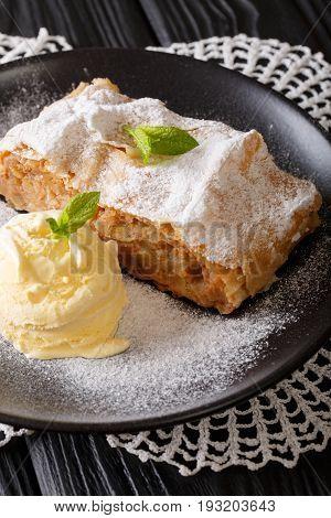 Delicious Apple Strudel With Sugar Powder, Ice Cream And Mint Closeup. Vertical