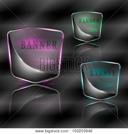 Vector illustration of bright splinters with illumination banners.