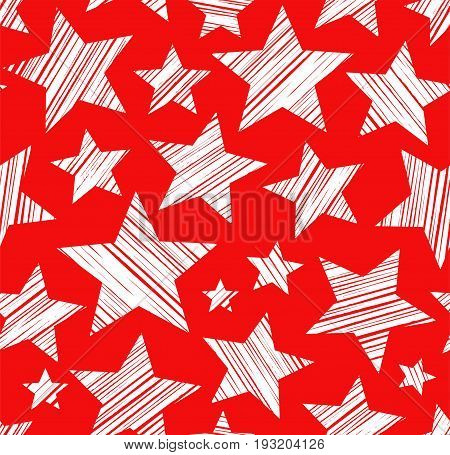 White stars, red background, seamless, vector. White stars painted diagonal stroke. Vector picture.