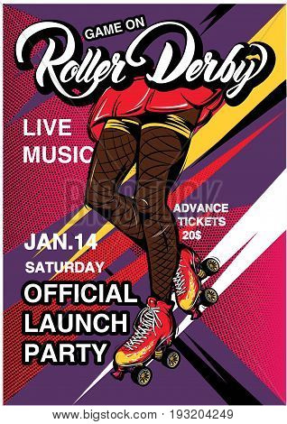 Cartoon rollerscate derby advertising poster with text girl legs in rollers on colorful bright background vector illustration