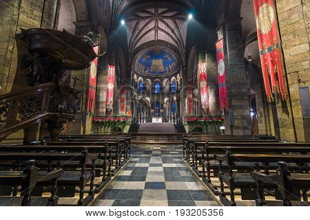 MAASTRICHT NETHERLANDS - JANUARY 13 2016: Interior of Basilica of Our Lady of the Assumption. The oldest church of the Netherlands. Construction started shortly after 1000 AD.