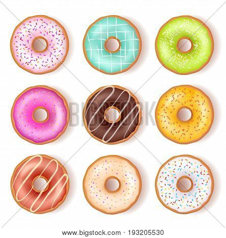 Bright tasty donuts top view set with various ingredients of different color and design isolated vector illustration