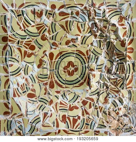Barcelona, Spain - May 6, 2017: Glass mosaic ceramic tile decoration in Park Guell