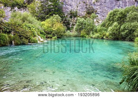 Croatia Plitvice lake natural travel background national park