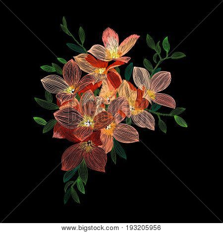 Anemone embroidery flower, ethnic embroidery flower, fabric embroidery flower, authentic embroidery flower, textile embroidery flower. Vector.