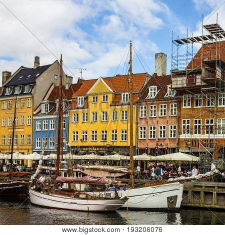 COPENHAGEN, DENMARK -- June 27, 2017: Seafront Nyhavn in Copenhagen