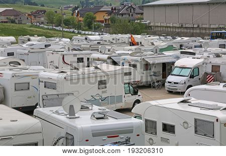 Asiago, Vi, Italy - May 27, 2017: Motorhomes In The Parking Lot Before The Cycling Race Called Giro