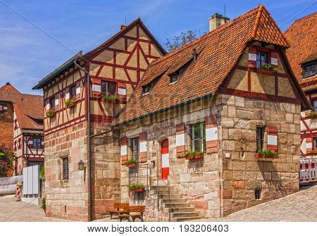 Nuremberg Castle historical buildings architectural view, Germany