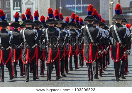 ROME ITALY - JUNE 2 2017: Military parade at Italian National Day. Carabinieri with protocol uniform in formation. Picture is taken between Piazza Venezia and Teatro di Marcello.