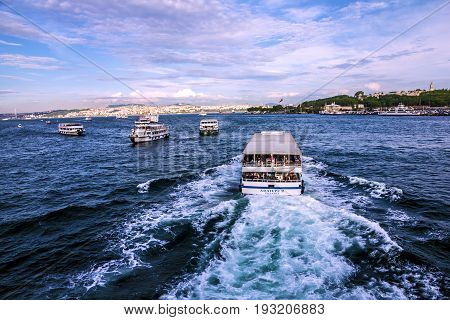 Istanbul, Turkey - May 7, 2017: Cutters in Bosporus, Istanbul, Turkey