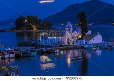 Evening Scene Of Vlacherna Monastery, Corfu