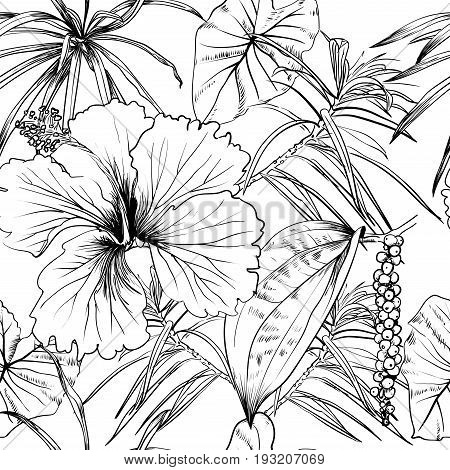 Tropical exotic flowers and leaves. Seamless pattern. Vector. Decorative image with tropical foliage, flowers. Objects for decoration, design on advertising coloring book