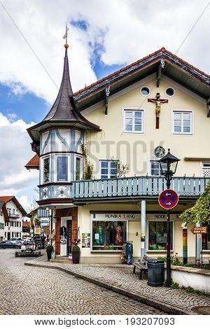 Bavaria, Germany - May 30, 2017: Small church in village Oberammergau