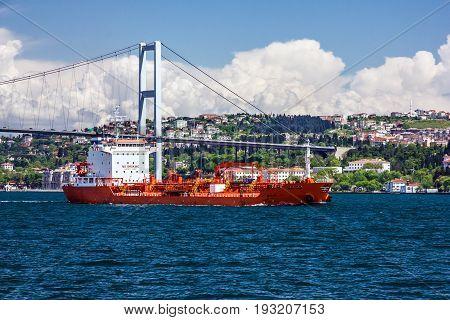 Istanbul, Turkey - May 19, 2017: Cargo vessel in Bosphorus, Istanbul, Turkey