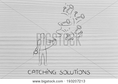 Man With Lasso Grabbing Keys, Solution Metaphor