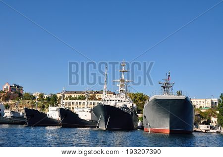 Russian warship in port of Sevastopol, Crimea