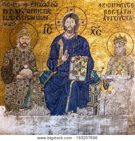 Istanbul, Turkey - May 8, 2017: Christian Icon in Hagia Sophia in Istanbul - greatest monument of Byzantine Culture.