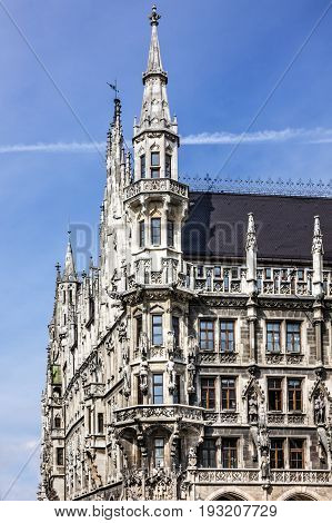 Munich town hall historical building, Germany, Marienplatz