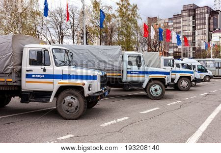 Samara Russia - May 20 2016: Russian police patrol vehicles parked on the Kuibyshev square in spring day