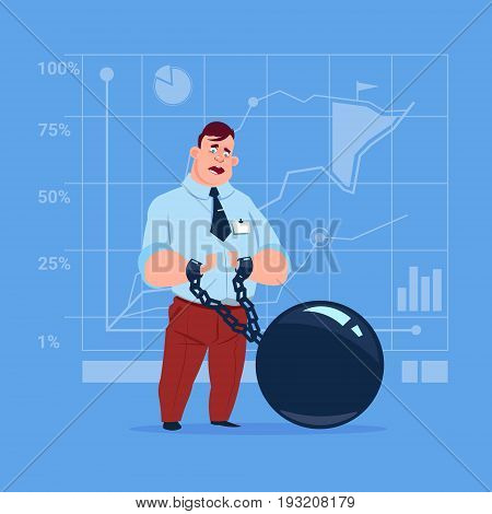 Business Man Chain Bound Hands Credit Debt Finance Crisis Concept Flat Vector Illustration