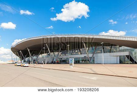 Samara Russia - May 22 2017: Samara Kurumoch Airport against the blue sky in summer sunny day