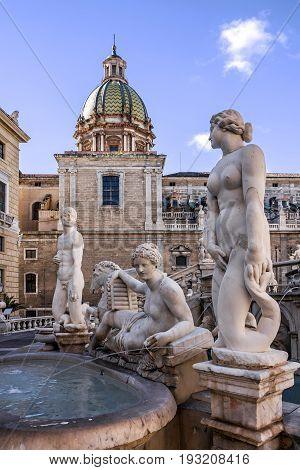 Palermo Fontana Pretoria, Sicily, Italy. Historical buildings landmarks, Piazza Pretoria