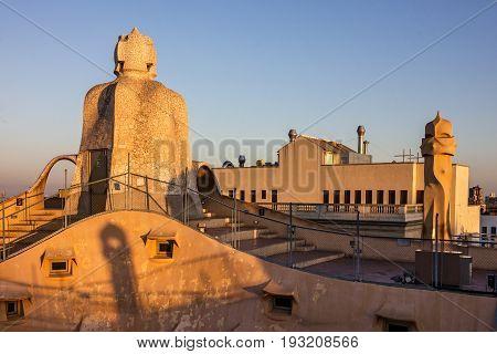 Barcelona, Spain - May 7, 2017: Casa Mila (La Pedrera) chimneys. Famous Catalan architect Anthoni Gaudi. UNESCO heritage