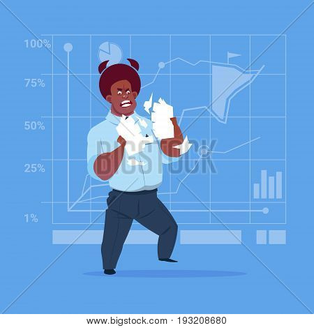 African American Business Man Tearing Paper With Contract Document Having Problem Concept Flat Vector Illustration