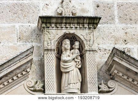 Perast, Montenegro - May 21, 2017: Statue of Virgin Mary monastery in island Perast, Montenegro.