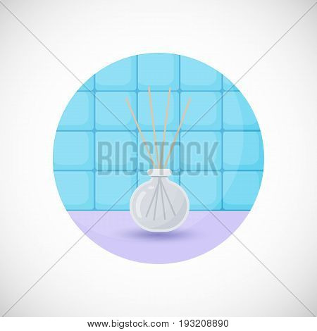 Reed diffuser with essential oils vector flat icon Flat design of aromatherapy spa or massage object in the bathroom interior vector illustration with shadows