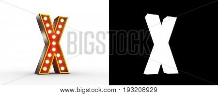 High quality 3D illustration of the letter X in vintage style with light bulbs illuminating it. Alpha Map included for easy isolation.