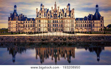 Chambord castle - greatest masterpiece of Renaissance architecture. France. Loire valley