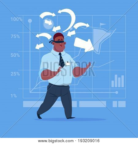 African American Business Man With Bandage On Eyes Choose Direction Way Arrow Risk Concept Flat Vector Illustration