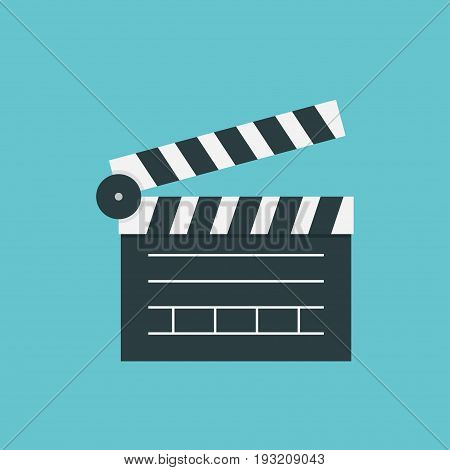 Clapperboard icon vector isolated on color background Vector illustration flat design