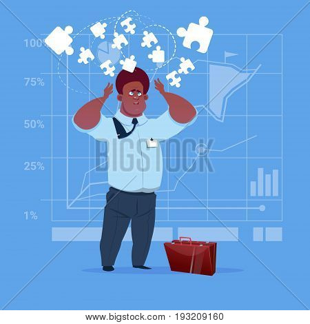 African American Business Man Solve Puzzle Solution Concept Flat Vector Illustration