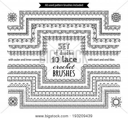 Vector Set Of 10 Doodles Lace Crochet Seamless Brushes.